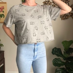 Awesome Cat Print Crop Tee